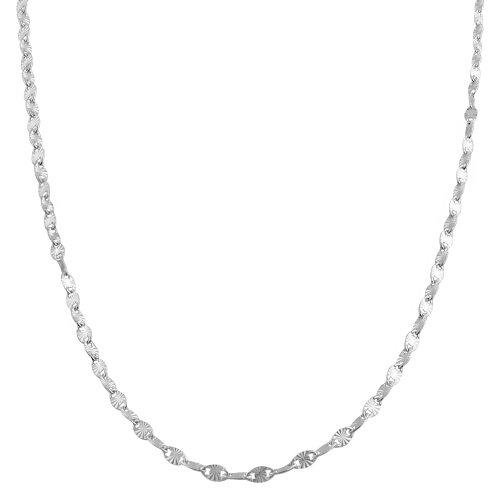 Sterling Silver 2.2-mm Diamond-cut Flat Oval Disc Chain (22 Inch)
