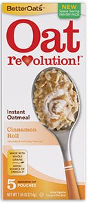 Oat Revolution! Instant Oatmeal - Cinnamon Roll - 5 Pouches Per 7.55-oz. Box (Pack of 3 Boxes)