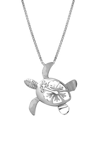 Sterling Silver Turtle and Hibiscus Necklace Pendant with 18 Box Chain (25mm)