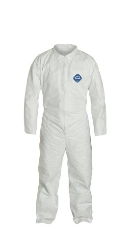 DuPont Tyvek TY120S  Disposable Coverall, Open Cuff, White, Medium (Pack of 6)