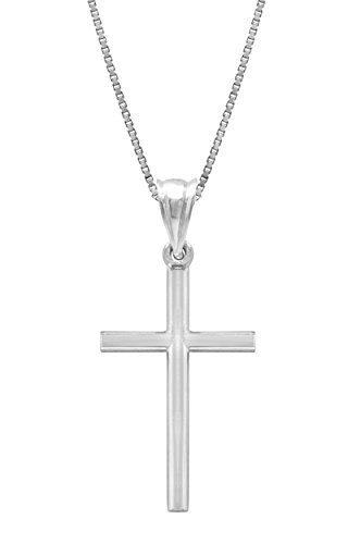 Sterling Silver Cross Necklace Pendant with 18 Box Chain
