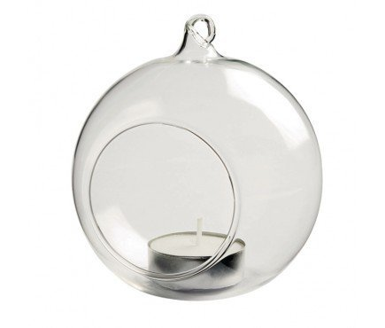 4 X HANGING GLASS BAUBLE SPHERE BALL CANDLE TEA LIGHT HOLDER CLEAR GARDEN OUTDOOR 10 cm