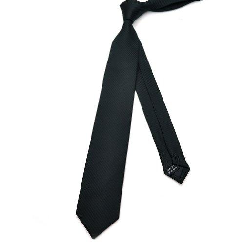 PenSee Mens Skinny Tie Jacquard Woven Silk Black Solid Stripe Necktie