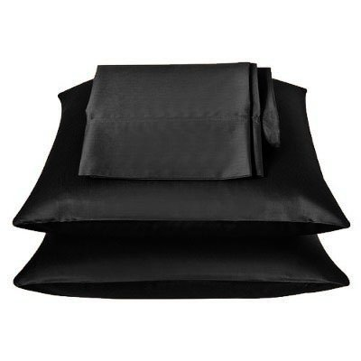 2 Pieces of 350TC Solid Black Soft Silky Satin Pillow Cases for Full or Queen Pillow
