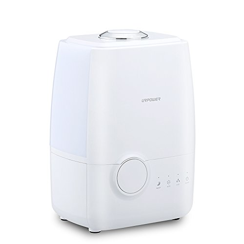 URPOWER Ultrasonic Cool Mist Humidifier, Advanced Whisper-quiet Operation Humidifier Waterless Auto Shut-off Air Humidifier with Adjustable Mist Mode for Home Bedroom Office Kids Spa 4Litres