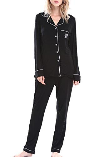 Women's Long Sleepwear Pajama Set Loungewear Underwear and Top by Nora Twips(Black,S)