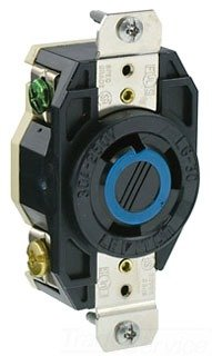 Leviton 2620 30 Amp, 250 Volt, Flush Mounting Locking Receptacle, Industrial Grade, Grounding, V-0-MAX, Black