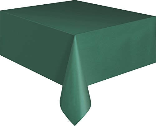 Plastic Table Cover, 54-Inch by 108-Inch, Forest Green