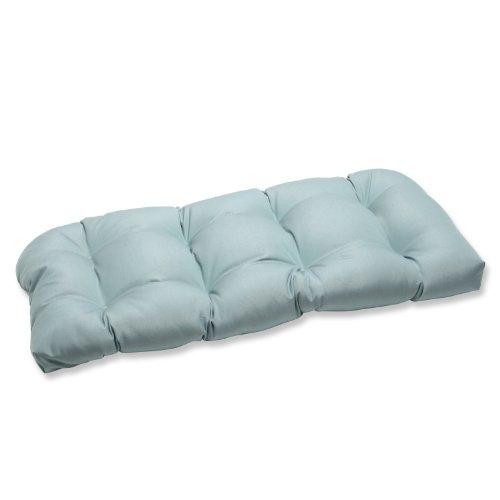 Pillow Perfect Wicker Loveseat Cushion with Blue Sunbrella Fabric