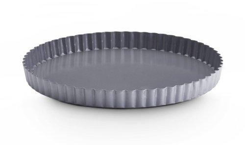 BonJour Aluminized Steel Nonstick Bakeware Quiche / Tart Pan, 9.5-Inch Round, Removable Bottom, Gray