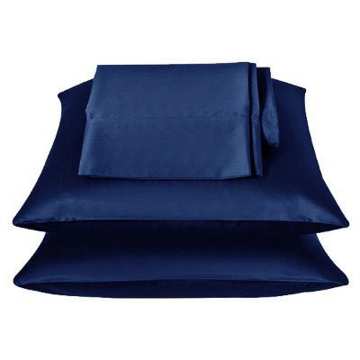2 Pieces of 350TC Solid Navy Blue Soft Silky Satin Pillow Cases King Size