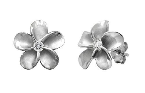 Sterling Silver Plumeria Stud CZ Earrings, 12mm