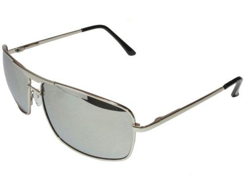 G&G Mirror Aviator Square Sunglasses Chrome Deluxe Spring Hinge