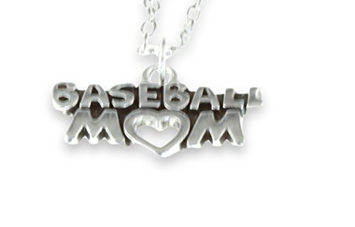 Fabulous I Love Baseball Heart Mom Pendant Silver Fashion Necklace Best Jewelry Gift for Wife Women Teens