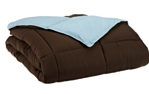 All Season Down Alternative King Reversible Comforter, Chocolate/Sky Blue