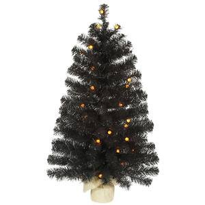 Vickerman Pre-Lit Pine Tree with 35 Orange G12 Berry LED Lights, 3-Feet, Black