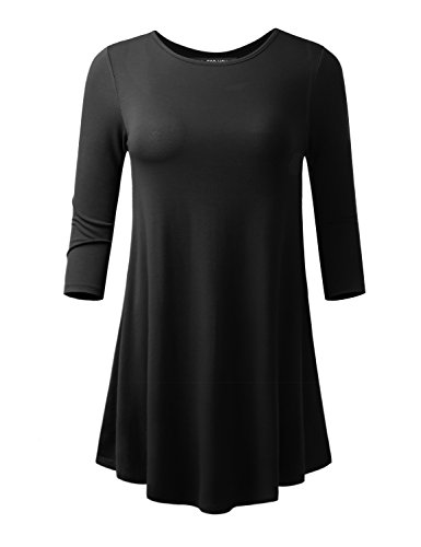 ALL FOR YOU Women's 3/4 Sleeve Flare Hem Tunic and Long Sleeve V-Neck Tunic