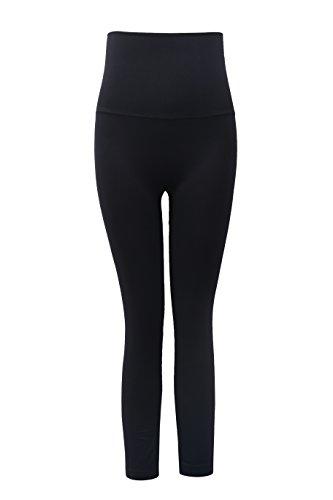 Aaronano Women's Slim Yoga Pants with Fold Over Solid Waistband Black,XL/XXL