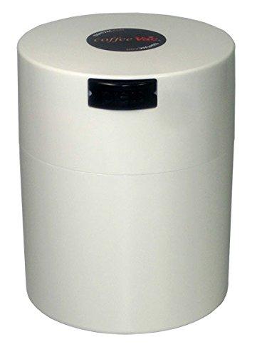 Tightvac America Coffeevac Vacuum Sealed Storage Container with White Cap and White Body, 1/2-Pound