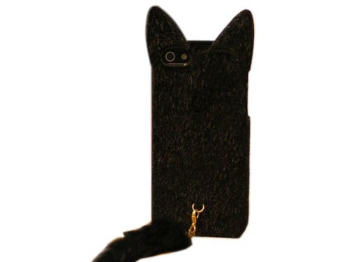 niceeshop(TM) Black Cute 3D Plush Tail Flexible TPU Case Cover For iPhone5 5S +Screen Protector