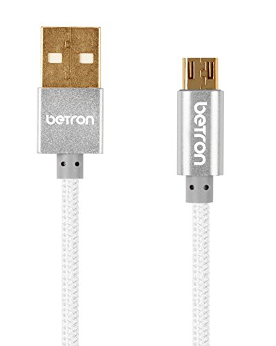 Betron Nylon Braided Reinforced Tangle Free USB to Micro USB Cable with Gold-Plated Connectors for Android, Samsung, HTC, Nokia, Sony and More (Silver)
