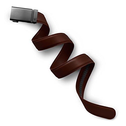 Mission Belt Men's Ratchet Belt - 35mm Gun Metal Buckle / Chocolate Brown Leather Strap, Small (28 - 32)