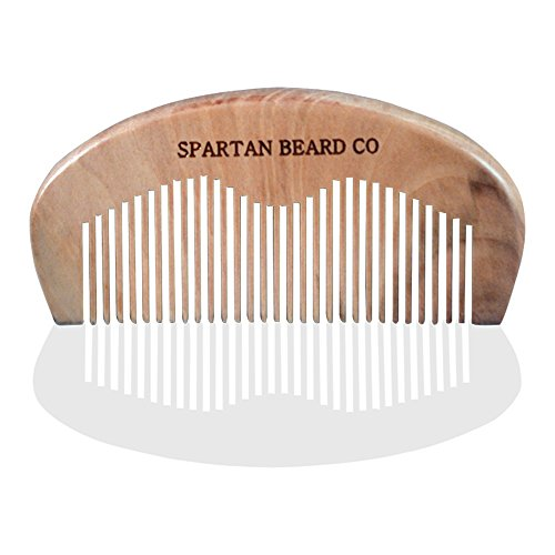 Wooden Beard Comb For Superior Men By Spartan Beard CoTM: Finest Quality Pocket Comb For Beard & Moustache Grooming - Anti Static, Pocket Size Hair Comb-Beard Brush- Comes In A Wax Sealed Envelope - Best Gift For Men