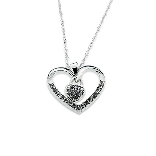 Silver White Crystal Open Heart Pendant I Love You Necklace for Girlfriend Wife Little Girl Valentines Mothers Day Christmas Anniversary Gift