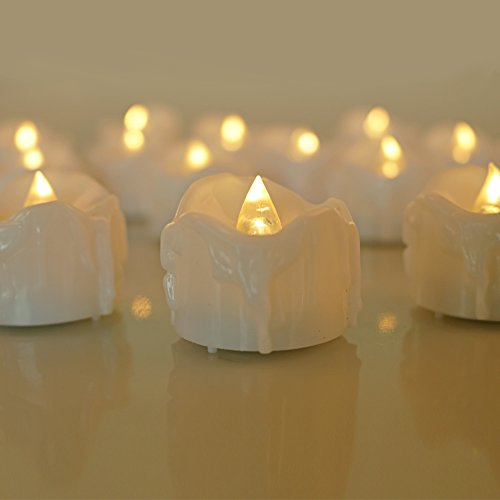 Micandle 12pcs Warm White Flickering Flashing LED Tea Lights Flameless Candles, Tear Wax Dripped Battery Operated Christmas Candles, Mini Tealight Candles for Wedding Halloween Outdoor Party.