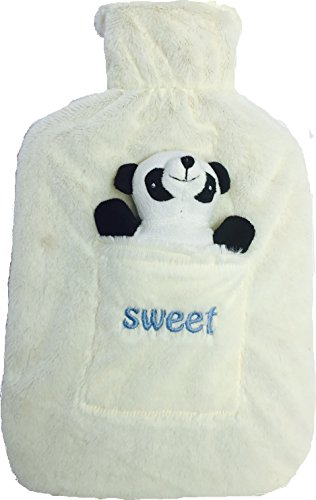 HOT WATER BOTTLE WITH LUXURY SWEET FLEECE COVER FOR KIDS AND ADULTS, 2L (2 LITTER SIZE). IDEAL FOR KITCHEN, CHILDRENS, PERSONAL HEALTH AND CARE, CAMPING AND TRAVELLING. WATER BAG FROM SOURCE-DIY (White Teddy)