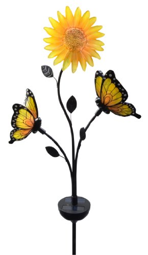 Moonrays 92537 Solar-Powered Butterfly and Sunflower Garden Brighter White LED Stake Light
