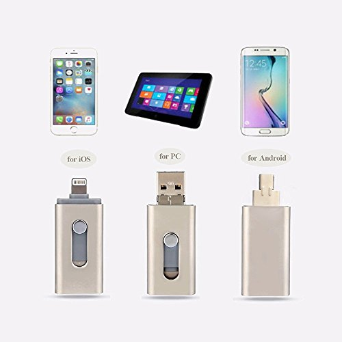 For Iphone flash Drive,ChYu 3 in 1 USB 32GB Flash Drive U Disk Memory Expansion USB Flash Drive OTG Gold U Disk for iPhone iPad Android Cellphones & Computers