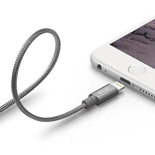 elago® [Apple MFI Certified] Aluminum Lightning Cable for Sync & Charge (iPhone SE, iPhone 6/6s, iPhone 6/6s Plus, iPhone 5/5s, iPad, iPad mini) (Aluminum Dark Grey)