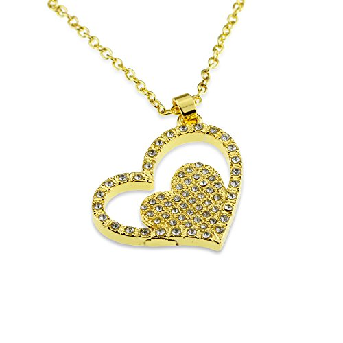 Iced Out Crystal Double Gold Heart Necklaces - Jewelry Gift for Mom Wife on Mother's Day and Birthday