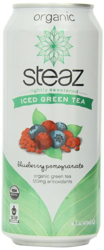 Steaz Iced Tea Can, Green Blueberry Pomegranate, Gluten Free, 16-ounces (Pack of12)