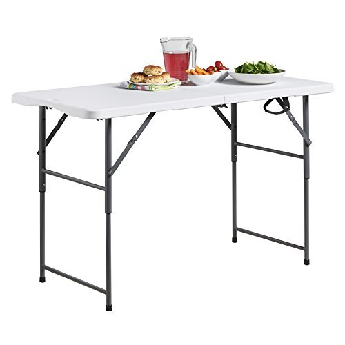 VonHaus 4ft Folding Table with Adjustable Height Utility Table for Picnic / Garden / Tailgate / Beach / Camping / Functions / Buffet / BBQ - Max Load 440lbs, Coated Steel & Extra Strength Durable Plastic