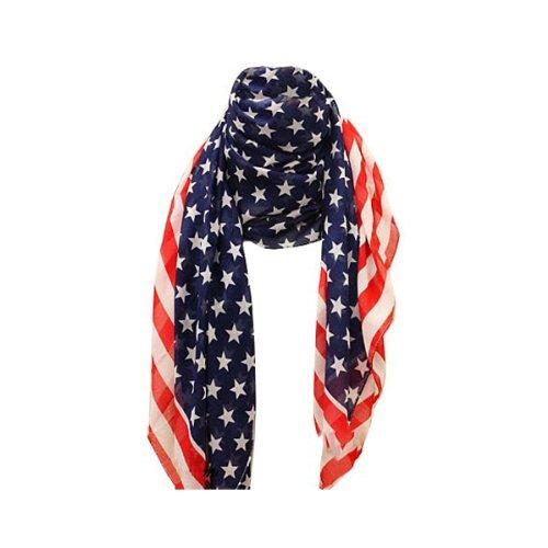 niceeshop(TM) Unisex Fashion Charming Patriotic Flag Chiffon Scarf Shawl Long Scarf Wrap-Blue & Red