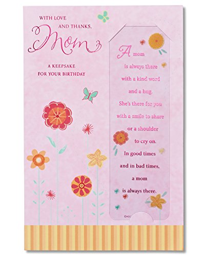 A Keepsake for Your Birthday Birthday Card for Mom with Bookmark