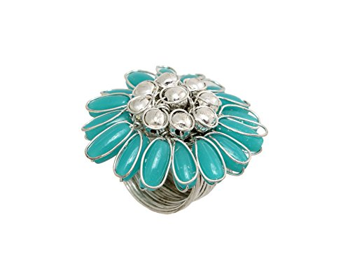 Finger Ring Fashion Jewelry for Girls Imperial Blue Flower Shaped Fashion Jewelry for Women