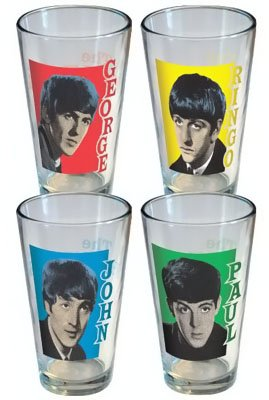 The Beatles Music Retro Style 4 Pack Beer Soda 16oz Pint Glass Set