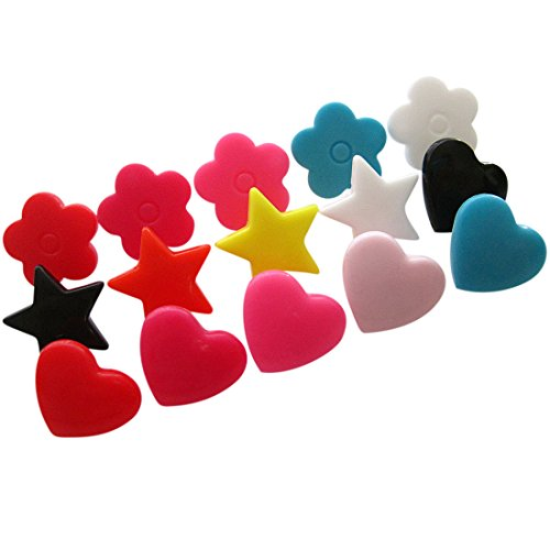 Kam Snaps Flowers Hearts Stars Plastic Snaps No-Sew Buttons Fastener for Clothes, Cloth Diapers, Bibs, Unpaper Towels