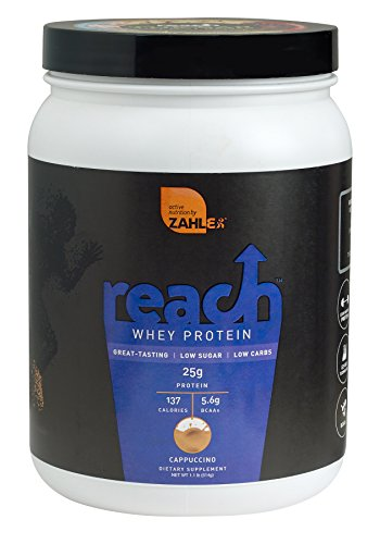 Zahlers Reach, Whey Protein Shake powder, advanced formula for Lean muscle build, all-natural weight management product, naturally sweetened and flavored, Certified Kosher, #1 best great delicious tasting Cappuccino Flavor, 1.1 Pound