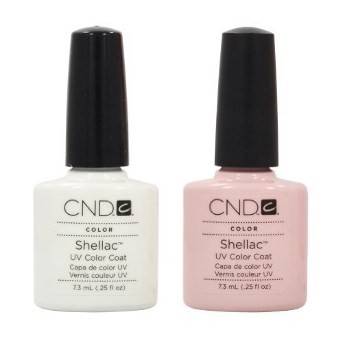 CND Shellac French Manicure Kit Coat Color Nail Polish Gel White Pink Pedicure