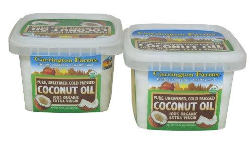 Carrington Farms 100% Organic Extra Vrigin Coconut Oil 12 Oz Pack of 2