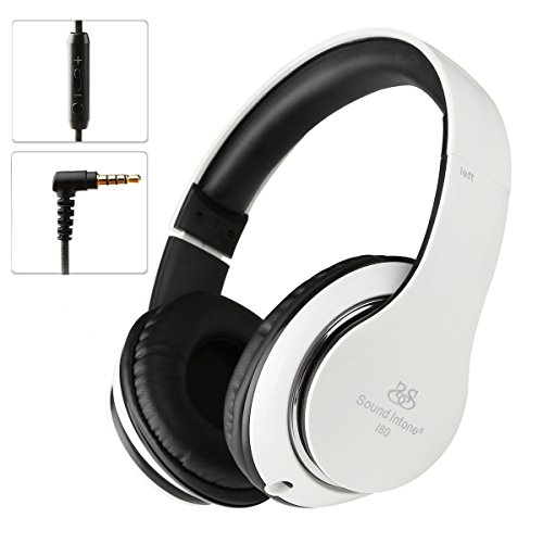 Sound Intone I80 Stereo Headphones With Detachable 3.5mm Audio Cable Build-in Microphone and Volume Control Bass Headsets Earphones For Iphone Earbuds Ipad Ipod Plus Mp3/4 Galaxy Smartphones S6 Samsung S5 Compatible with PC Laptop Notebook or Mac Computer Tablet(White/Black)