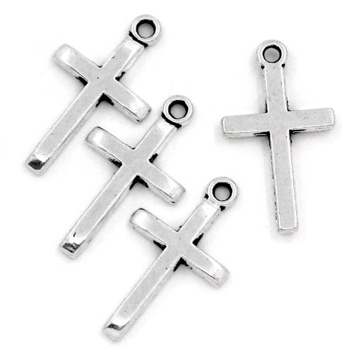 Rockin Beads Brand, 50 Pendant Beads Charms 1 Inch Cross Antique Silver Plated Zinc 1x4/8 Inch Package of 50