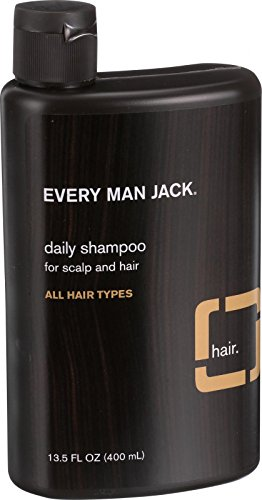 Every Man Jack Daily Shampoo - Cleanse your hair and scalp of excess oil and buildup - All Hair Types - Sandalwood - 13.5 oz - Certified Organic - Ideal for daily use