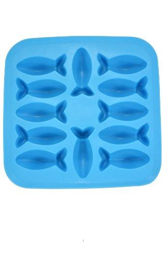 Fairly Odd Novelties Novelty Gag Gift Fish Shapes Flexible 12-Ice Cube Tray Mold, Rubber, Blue