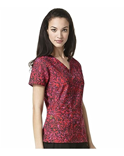 Four Stretch By Wonderwink Women's V-neck Abstract Print Scrub Top Medium Print