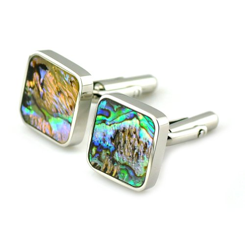 PenSee Rare Stainless Steel & Abalone Shell Square Cufflinks for Men with Gift Box